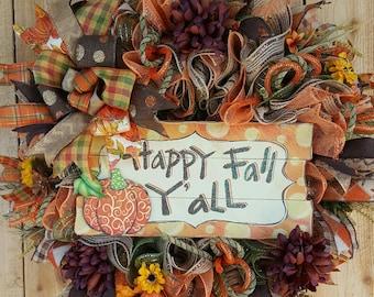 Happy Fall Y'all Mesh Door Wreath, Autumn Pumpkin Wreath, Pumpkin Wreath, Fall Decor, Fall Front Door Wreath, Orange-Brown