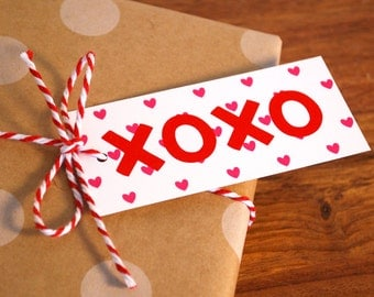 XOXO  - Set of 8 - Valentine's Day Gift Tags