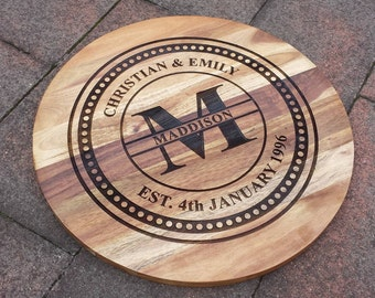 Personalised Circular Cutting or Cheese Serving Board Design 4