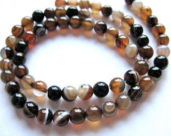 Striped Agate beads, 31 beads, 6mm, brown, beige and sienna - #341