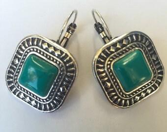 Turqoiuse Tibetan Silver Earrings
