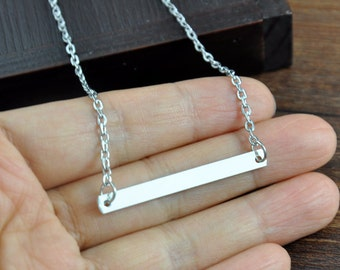 On Sell - Blank Bar Necklace, Gold or Silver Bar Necklace