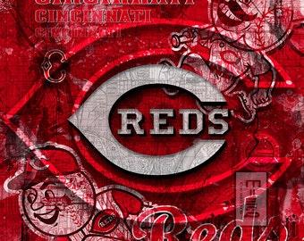 Cincinnati Reds Art, Cincinnati Reds Poster, MLB, Baseball Poster, Reds Gift, Baseball Poster, Cincinnati Reds Print, Cincinnati Reds MLB