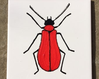 Ceramic Tile Painting, Original, Red and black bug beetle creepie crawley insect plaque