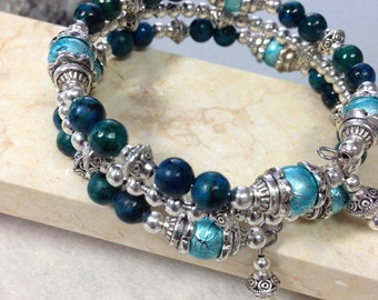 Green Jasper stone Bangle, memory wire bangle, Birthday gift, Mother's Day gift, Anniversary gift, gift for women