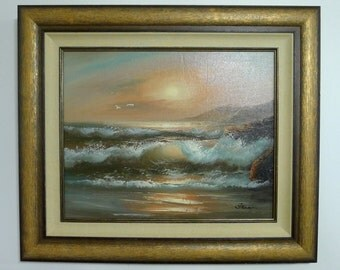 Custom Framed Art, Original Oil Painting of Ocean Waves on the Beach.