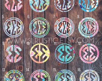 lilly pulitzer inspired greek letters decal sorority decal greek decalyeti cooler decal car decal measures in length