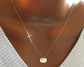 Long Sterling silver cross and initial necklace, personalized necklace, personalized initial disc, personalized gift