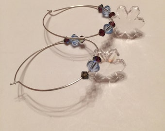 Silver Loop Earrings with Swarovski Crystals