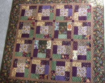 Fall Leaves and Sunflowers handmade quilt, machine quilted; scrap quilt in purple and green; throw quilt; wall hanging quilt; ready to ship