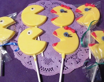 Pac Man and Ms. Pac man chocolate lollipops
