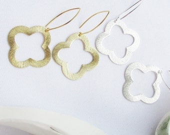 Quatrefoil or Clover Earrings Open Quatrefoils In Gold and  Silver