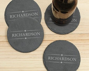 Engraved Slate Coaster Set , Coaster Set, Personalized Slate Coasters