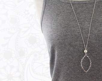 Silver Plated Charm with White Pearl Necklace . White Long Necklace . Dainty and Simple Long Necklace Birthday Gift