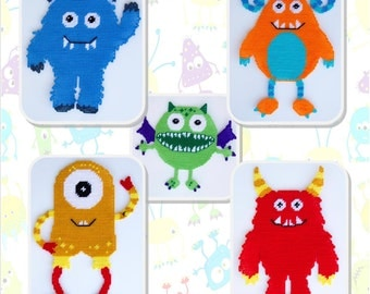 Monsters Wall Hanging-Plastic Canvas Patterns-PDF Download