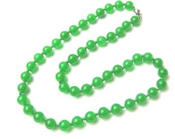 Green Malay Jade Beaded Strand Necklace -nk-jd3