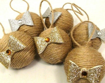 6 Natural Eco Friendly Christmas Jute Ornaments With Bows