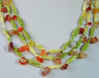 Crochet bracelet with stones