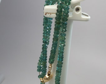 Gorgeous blue green translucent natural faceted tourmaline rondelle beads. 4.5 mm. 7 inches long. SPS221