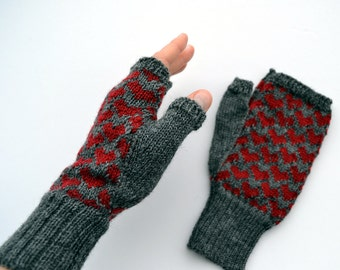 Knit Wool Fingerless Gloves with Hearts