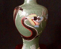 """Vintage Chinese Cloisonné 5"""" Imperial Dragon Vase Green"""