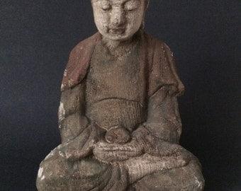 Fine Old Carved Wood Meditating Buddha Monk Statue