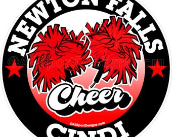"""Chr139 Cheerleading Car MAGNET 6"""". Choose YOUR Wording, Colors! Team Discounts!"""