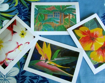 Tropical Flower Handmade Greeting cards  (A)