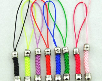 Cell Phone Strap Lanyard--50 pcs (70-75)x5mm Mixed color Lariat Lanyard Mobile Cell Phone Strap Chains Connectors With White K Metal Top