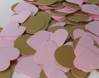 300 Pink and Gold Confetti - Baby shower - Wedding - Birthday - Table decoration - Confetti -