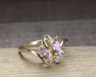 Estate 14K Gold Dainty Flower  Style Marquise Cut  Estate Amethyst and Diamond Ring