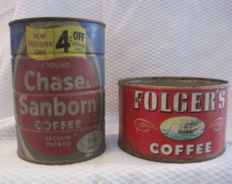 2 vintage distressed coffee cans