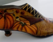 Hand Painted Antique Wooden Shoe Form