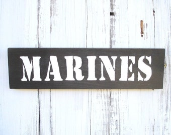 US Marines painted wood sign for military and veterans