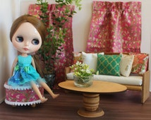 Blythe/Barbie Dollhouse- Pink/Green Curtains, Pillows, Ottoman, 1:6 Scale Accessories