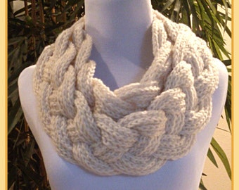 Double Layered Braided Cowl Scarf * Ladies * Ivory * Made to Order