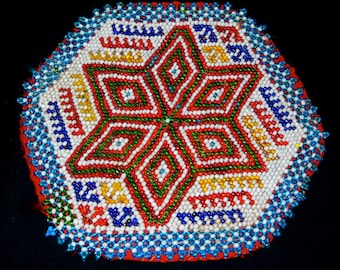 "Beaded Banjara Gypsy Medallion 7.5"" Ethnic Patch Or Talisman Handmade India"