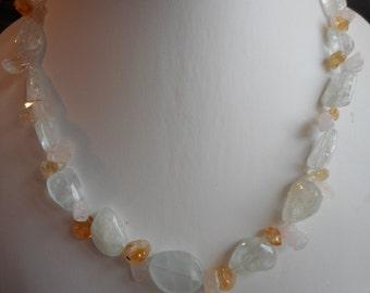 Aquamarine, Citrine and Rose Quartz Necklace