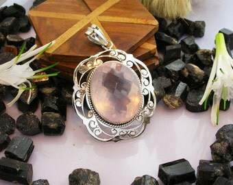 A+++ Rose Quartz Necklace, Pink Pendant , 925 Sterling Silver,  Handmade Necklace, Pink Quartz Gemstone,  Bridesmaid Gift, Birthday Gift