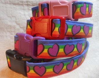 Hearts and  Rainbow Dog Collar / Purple Dog Collar / Unique Dog Collar / Puppy Collar / Colorful Dog Collar