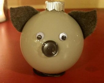Grey Pig Ornament