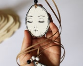 double face plywood pendant, hand painted with acryl colors, glossy finish, grosgrain ribbon with wooden pearls