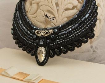 Soutache necklace. Black necklace.