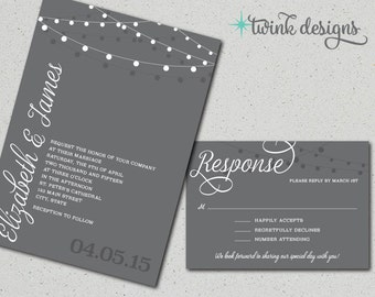 Printable Wedding Invitation | Gray Wedding Invitations | RSVPs | Simple Wedding Invitation | String of Lights Wedding Invitation