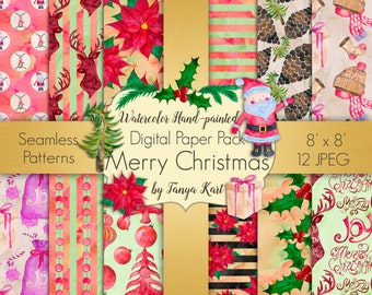 Christmas Digital Paper Pack Winter Seamless Patterns Christmas Watercolor Hand-Painted Digital Paper Scrapbooking Watercolor Paper