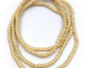 Glass beads, cream, 3 mm, cylinder, Ghana, tubes, 67