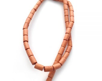 Light brown wood beads, 8 mm, tubes, 1 strand, 48 St