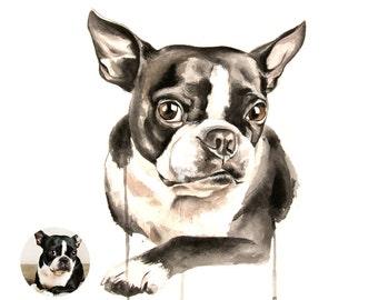 CUSTOM dog - PET PORTRAIT - custom watercolor painting - dog, cat, horse, animal Watercolor Painting