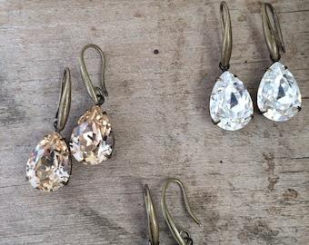 Swarovski tear drop crystal earrings - Crystal, Light Silk or Crystal Gold Patina
