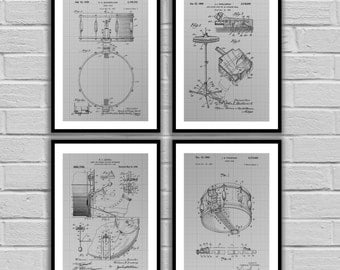 Drumset Poster - 4 PACK, Drumset Blueprint, Drumset Patent, Drumset Print, Drumset Art, Drumset Decor, Gifts for Drummers, Music Patent Set